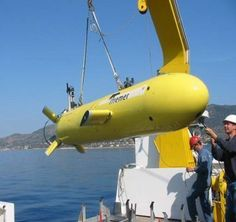 AUV is an autonomous underwater vehicle. They are robots that don't need operators. Also known as unmanned underwater vehicles.