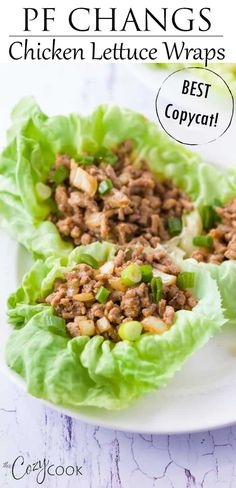 Copycat PF Changs Chicken Lettuce Wraps This Copycat recipe for PF Changs Chicken Lettuce Wraps is so easy to make and has a perfect blend of ingredients! Substitute ground turkey for a leaner option and enjoy this healthy weeknight dinner! Healthy Turkey Recipes, Healthy Ground Turkey, Ground Meat Recipes, Good Healthy Recipes, Healthy Party Foods, Ground Chicken Recipes Easy, Recipes With Ground Turkey, Healthy Nutrition, Healthy Food