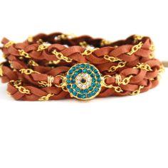 Braided Leather CZ Wrap Bracelet Evil Eye by MesaBlue on Etsy