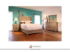 """Praga"" Collection 968 by International Furniture Direct $1749Set includes Queen bedframe, dresser, mirror, and nightstand. solid+wood+praga+ifd+rustic+coastal+antique+bedroom"