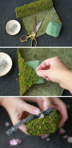 Create this pretty DIY moss ring pillow for your ring bearer to carry. It's a simple touch that will incorporate moss into the wedding ceremony.