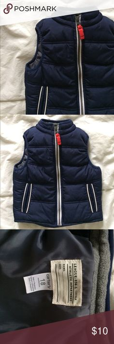 Carter's Zip Up Puffer Vest Cute boys Vest in great condition. Only worn several times. Zipper is red. My son had two vests so he hardly wore this one. Carter's Jackets & Coats Vests