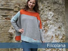 Cinnia is an incredibly soft and springy yarn, which is really lovely to wear. The sweater is designed to be worn with tight trousers, so it has space to drape and flutter about the body. I HAD to knit in grey with mint and orange, but you should feel completely to pick and match colors to suit your mood and your wardrobe.