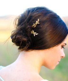 Dainty Oak Leaf & Acorns Hair Pin Gold Oak Branch by luxebuffalo