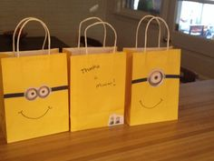 """Minion goody bags - contains one """"fart gun,"""" a kazoo, minion stickers, funny face glasses and blue and yellow play dough."""