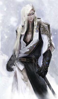Картинки по запросу anime white haired swordsman