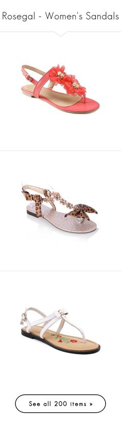 """""""Rosegal - Women's Sandals"""" by lence-59 ❤ liked on Polyvore featuring shoes, sandals, pleather shoes, flower sandals, red shoes, blossom footwear, red sandals, leopard bow sandals, leopard print shoes and leopard sandals"""