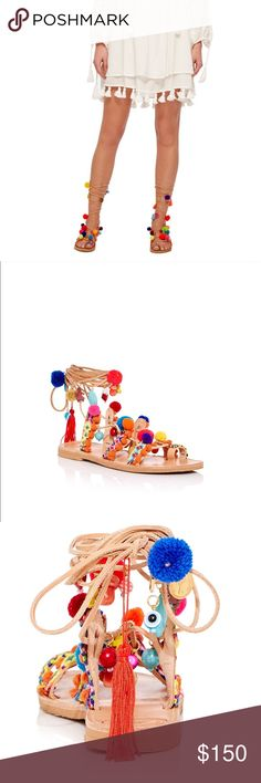 """New Elina Linardaki gladiator sandals🌺🌴 NEW and never-worn Elina Linardaki """"Penny Lane"""" sandals. Size 39. Made in Greece. Bought them in Moda Operandi. Made in gorgeous leather with real crystals, turquoises and tassels. Summer must-have! Elina Linardaki Shoes Sandals"""