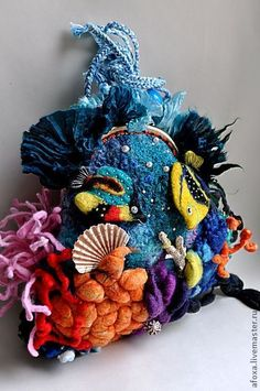 """""""Barrier Reef"""" - dark turquoise, sea, reef, sea floor, marine life"""