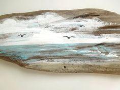 Driftwood Painting Coastal Seascape