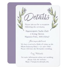 #Floral Details Wedding Watercolor Flower Leaves Card - #weddinginvitations #wedding #invitations #party #card #cards #invitation #watercolor