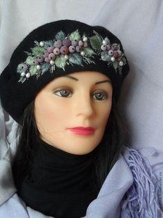 """Купить Берет """"Летняя ночь"""" - черный, цветочный, берет, зима, подарок девушке, подарок на новый год"""