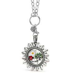 You are my sunshine, my only sunshine. Spring is here and it is the perfect time to style your look for the season! This happy and sunny locket is filled with exclusive charms that will bring happiness to all.  #locket #happy #sunny #sunshine #spring #seasonal #season #tree #charms #sunflower #classic #exclusive #special #unique #ladybug #white #daisy #flowers #family #silver #toggle #chain #crystal #swarovski #oval #happiness #accessories #style #gift #beautiful