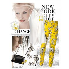 Floral Print Trousers by allysha-fa on Polyvore featuring polyvore fashion style Alberta Ferretti RED Valentino MICHAEL Michael Kors DKNY Towne & Reese Nixon GINTA