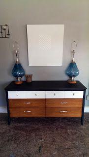 Vintage Ground: Mid Century Gray / White / Walnut Eight Drawer Dresser Buffet