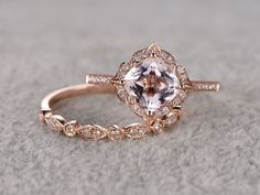 7mm Cushion Morganite Wedding Set Diamond Bridal Ring 14k Rose Gold Retro Vintage Floral Marquise Matching Band