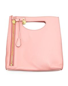Alix Small Calfskin Shopper Tote Bag, Wild Rose