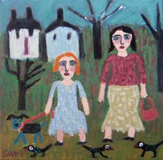 Girls Dog Birds Landscape ORIGINAL Raw Folk Art by sariart on Etsy