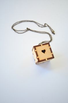 Laser Cut Heart Cube Necklace by Unpoosible Cuts, via Flickr