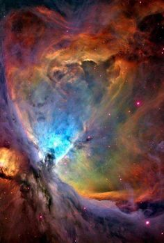 the #Orionnebula as seen from the hubble telescope. the orion nebula is made from dust,hydrogen and other particles and is so large that some of it actually spills to the next neighbouring constallation