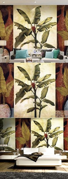 South Asian Chinese style mural home decor for bedroom living room TV backdrop non-woven wallpaper banana leaves papel de parede Asian Home Decor, Living Room Tv, Chinese Style, Backdrops, Bedroom, Nice, Wallpaper, Banana Leaves, Painting