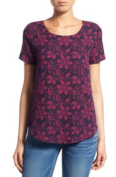 RETURN Pleione Pleat Back Woven Print Top (Regular & Petite) (2 for $60)