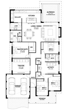 The Orchard - Lot 51 Jennapullin Crescent floorplan Theatre convert into WIC and activity corner into tv corner Best House Plans, Dream House Plans, Modern House Plans, House Floor Plans, The Plan, How To Plan, Dream Home Design, House Design, Summit Homes