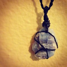 This is a custom order ~ a throat chakra centered Blue Calcite stone hemp-wrapped with a matching chain!   To place a custom order, please contact me through my website: www.HappyMedium4eco.com  ✨Blue Calcite✨ ~Calming and soothing; for frayed nerves; amplifies learning ~Amplifies energy in communication and thought; ~Enhancing of decision making and lessens anxiety and refocuses toward optimism