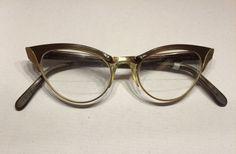 BEAUTIFUL!! 1950s Vtg WHITNEY Cat Eye Eyeglasses Plastic Gold Frame Ornate Brown #WHITNEY #CatEye