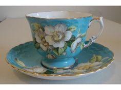 Fancy Aynsley Embossed Turquoise Orange Blossom Cup and Saucer