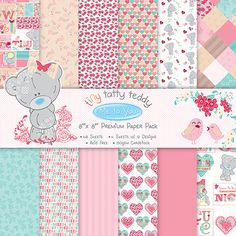 The Me to You Tiny Tatty Teddy Girl paper packs contain retro inspired character & sentiment pages with charming repeat patterned papers.