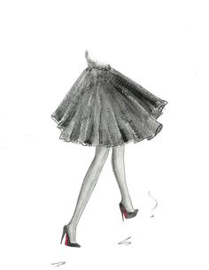Girl with Louboutin Shoes Fashion Illustration- Black and White Watercolor Print- Girls Room Decor- Teen Tween Wall Art