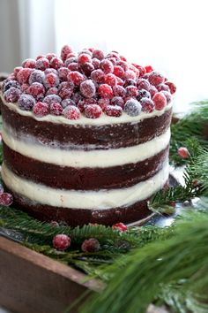NAKED RED VELVET LAYER CAKE WITH CREAM CHEESE FROSTING AND SUGARED CRANBERRIES