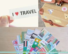 I Love Travel Diary Deco Pack Sticker Set - 12 Sheets, 200 Pcs - Luggage Tag, World Map, Ferries Wheel, Countries, Postcard, Passport, Chop. $5.80, via Etsy.