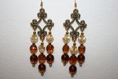 Brown Chandelier Earrings with Antique Gold by ClassyKittyJewelry