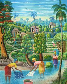 Haitian art - Women Washing by the Stream Berny Mathias African American Art, African Art, Art Haïtien, Art Tropical, Haitian Art, Cuban Art, Caribbean Art, Illustration Art, Illustrations