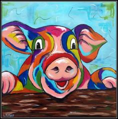 Een varken in niet alledaagse kleuren.