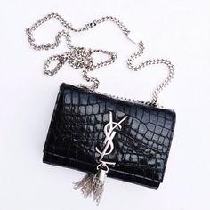 Saint Laurent, Cassandre Small Tassel Crossbody Bag, Black