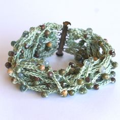 15 Strand Cotton Crochet Bracelet Green with Earth by WestHillNook, $20.00