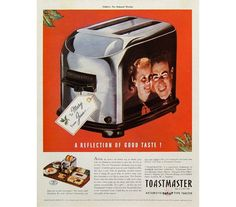 """Toastmaster Automatic Pop-Up Toaster 1938 Vintage Ad Print Advertising """"A Reflection of Good Taste"""" Christmas Gift and Hospitality Tray Set"""