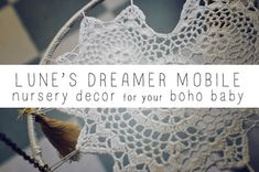 I'm thinking dream catchers with doileys. Could even dye them ...