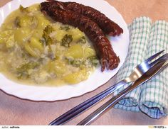 Hungarian Recipes, Russian Recipes, Hungarian Food, Czech Recipes, Ethnic Recipes, Risotto, Sausage, Bacon, Good Food