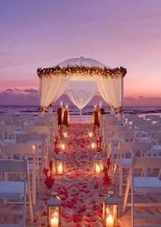 Glamorous Candlelight Beach Wedding ~ Another great idea. Maybe instead of renewing our vows in church....hmmm. It's a thought.