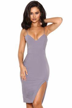 'Raqa' Grey Asymmetric Cut Bralet Dress