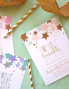 1st Birthday Party Invitation - Twinkle Twinkle Little Star - Pink, Mint & Gold…