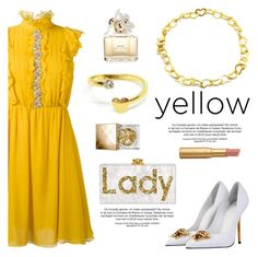 """""""Lady in Yellow!"""" by donna-italiana ❤ liked on Polyvore featuring Giambattista Valli, Versace, Marc Jacobs, Burberry, Too Faced Cosmetics, yellowdress, contestentry and donnaitaliana"""