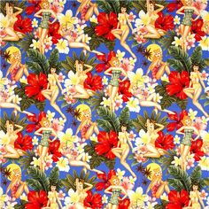 Beach Pin up women in bathing suit fabric by Alexander Henry 2