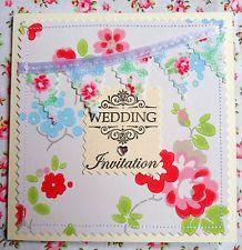 Shabby Chic Gingham Bunting Wedding Invitations Hand Made Cath Kidston Chintz