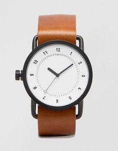 Imagen 1 de Reloj de cuero con esfera en blanco y tostado No 1 de TID