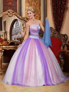 Good Quality Colorful Tulle Taffeta Ball Gown Quinces Dresses with Beading